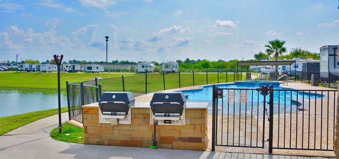 Pool & Grills at Katy Lake RV Resort