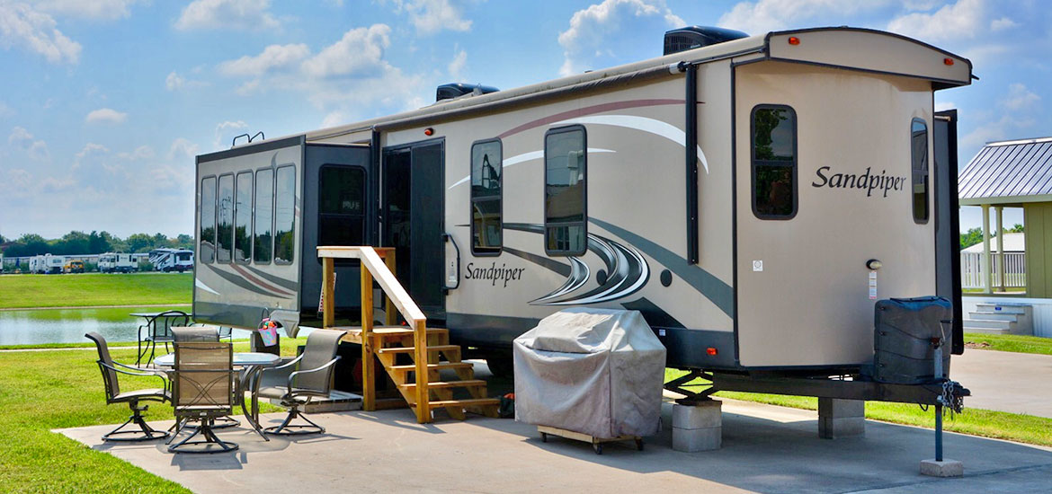 Trailer Site with Patio at Katy Lake RV Resort