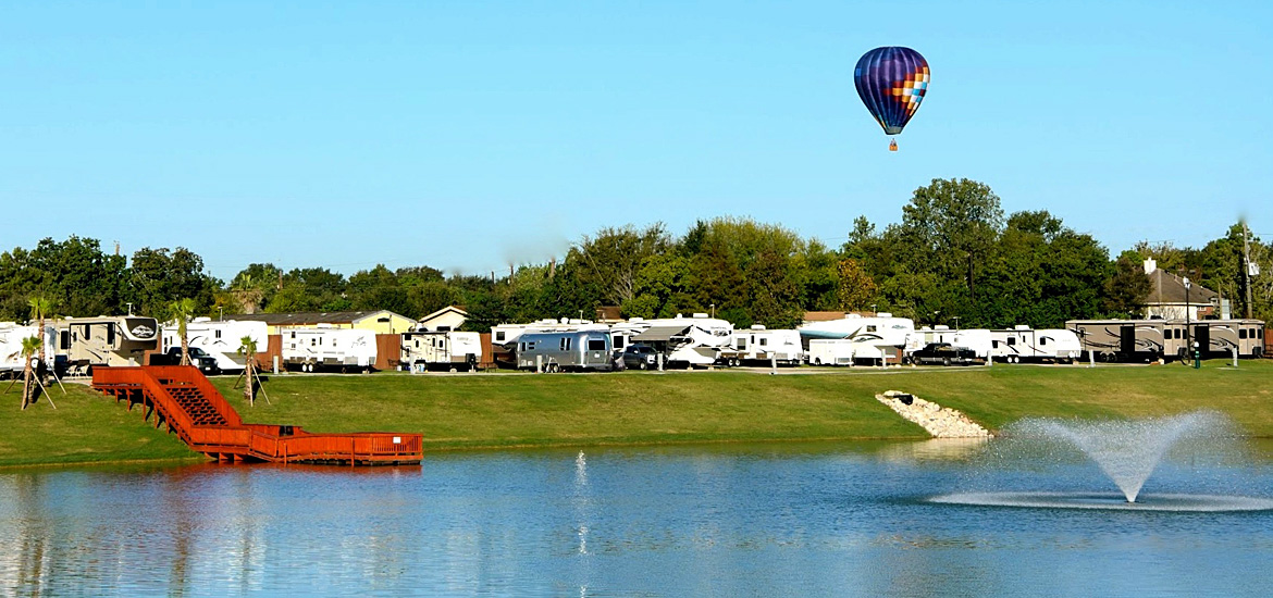 Hot Air Balloon over the Lake at Katy Lake RV Resort