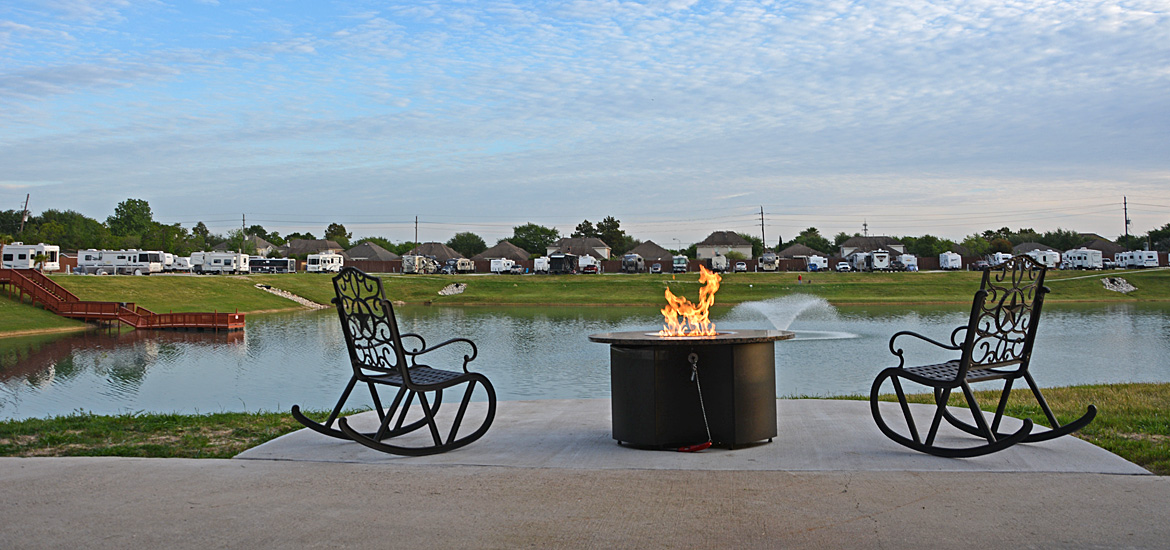 Lakeside Firepit at Katy Lake RV Resort
